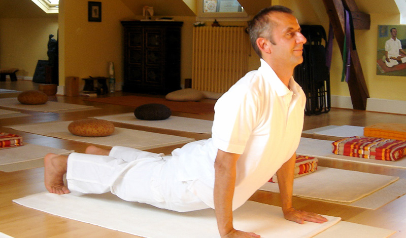 Сарпасана Далеко не каждый готов заниматься йогой на постоянной основе — здесь потребуется не только сила воли, но и готовность к определенным переменам в образе жизни. Однако вполне можно использовать некоторые упражнения из йоги для решения своих повседневных проблем. Поза Змеи, сарпасана, считается чуть ли не лучшим профилактическим упражнением для профилактики болей в спине. Держите ноги вместе и поднимайте на руках корпус, так, чтобы почувствовать напряжение мышц.