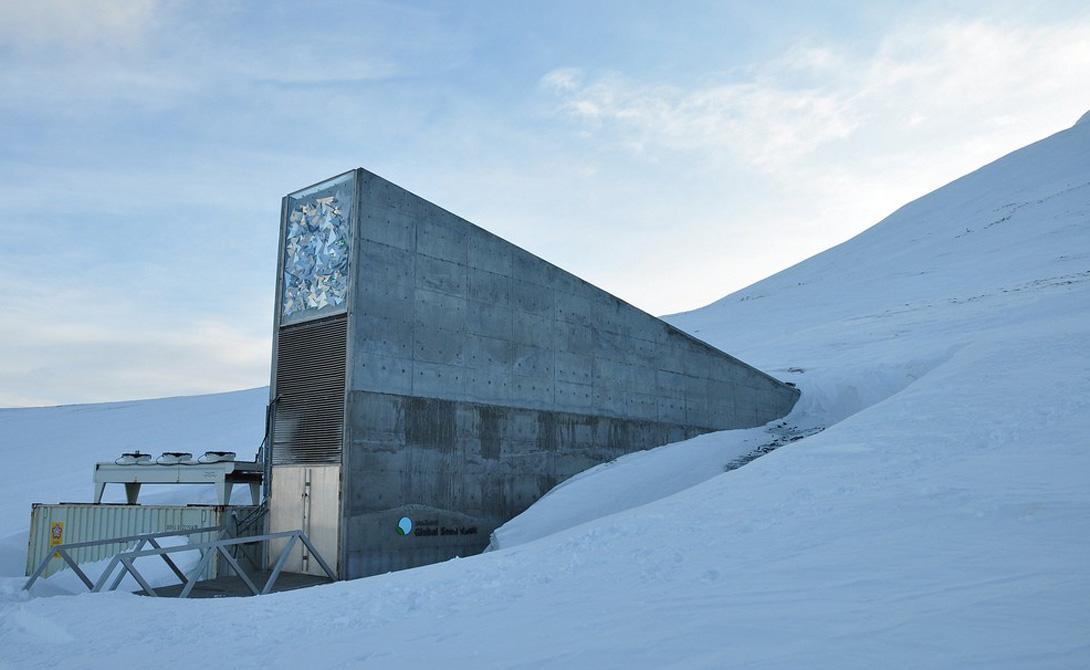 Банк семян Норвегия В принципе, можно судить о состоянии нашей планеты только по факту существования этого бункера. Его построили в 2006 году, когда представители ООН единогласно решили, что ядерная война в обозримом будущем — штука вполне вероятная. Здесь, на острове Свальбард, собраны абсолютно все существующие на планете растительные культуры. Бункер создан просто неуязвимым: падение метеорита, ядерная атака, глобальная катастрофа — тот, кто успел добраться до Свальбарда, может не бояться вообще ничего.
