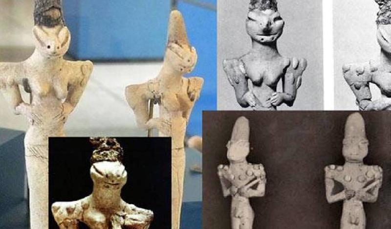 Люди-ящеры Аль Убайд Были ли первые люди Земли рептилиями? В начале 1900-х годов эти фигурки ящериц обнаружились в Ираке — район считался местом жительства древних шумеров. Фигурки изображают ящериц в роли богов, а одна из скульптур изображает грудное вскармливание ящерицей человеческого младенца.