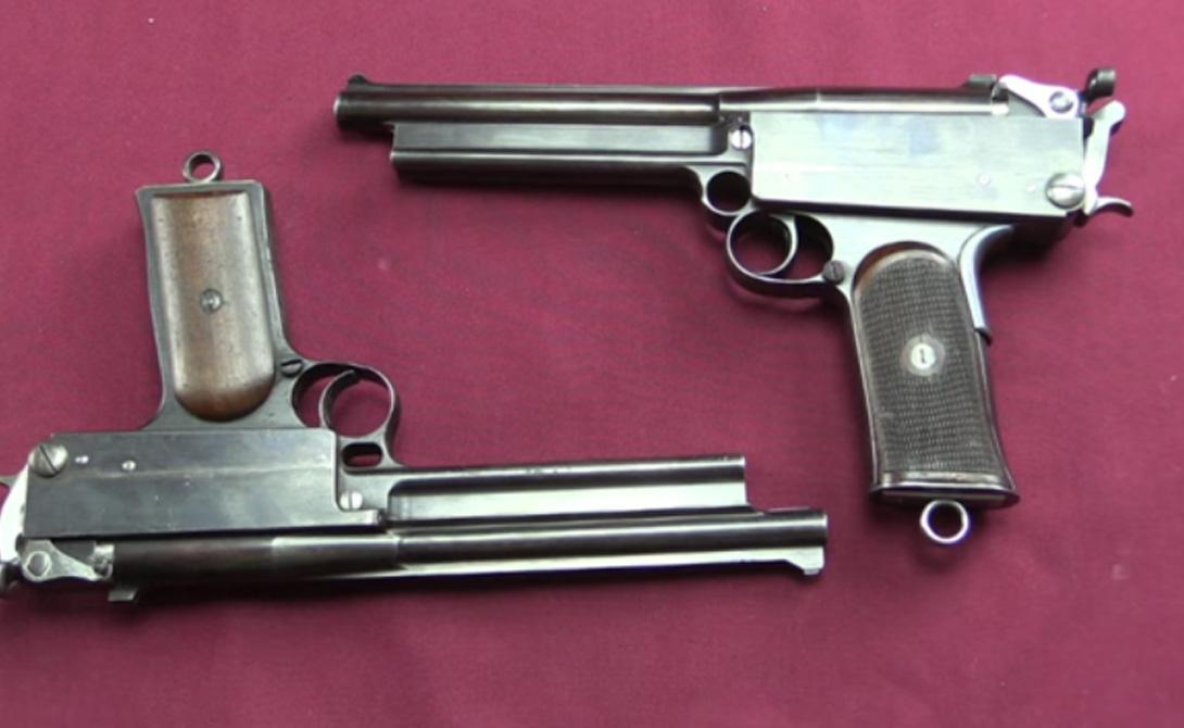 Марс Страна: ВеликобританияБыл введен в эксплуатацию: 1900Тип: пистолетДальность поражения: 300 метровВместимость: 6 патронов В начале 20-го века многие изобретатели бились над созданием простого, функционального самозарядного пистолета. В конце концов, был создан Colt M1911, ставший стандартом личного вооружения в странах Запада. А вот до него правительство Великобритании делало ставки на пистолет «Марс». Сложный в эксплуатации, он, к тому же, выкидывал гильзы прямо в лицо стрелку.