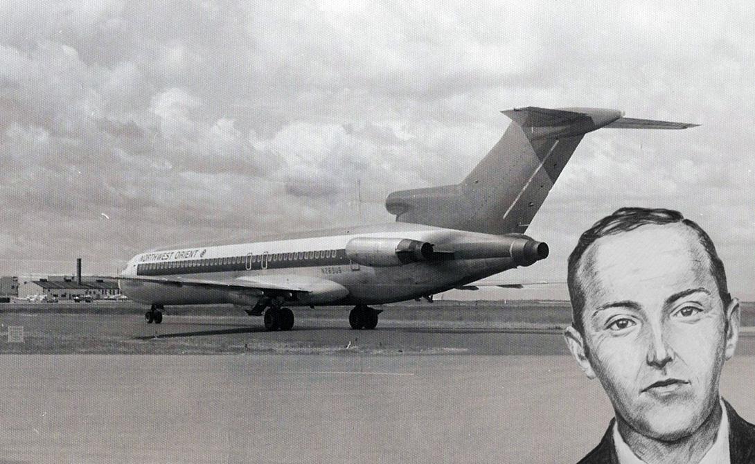 Д.Б. Купер Идеальное преступление, поставившее в тупик всех криминалистов США. Д.Б. Купер угнал самолет и потребовал выкуп в $ 200 000 и несколько парашютов. Власти решили сотрудничать. Получив все необходимое, преступник выпрыгнул из самолета — его больше никогда не видели.