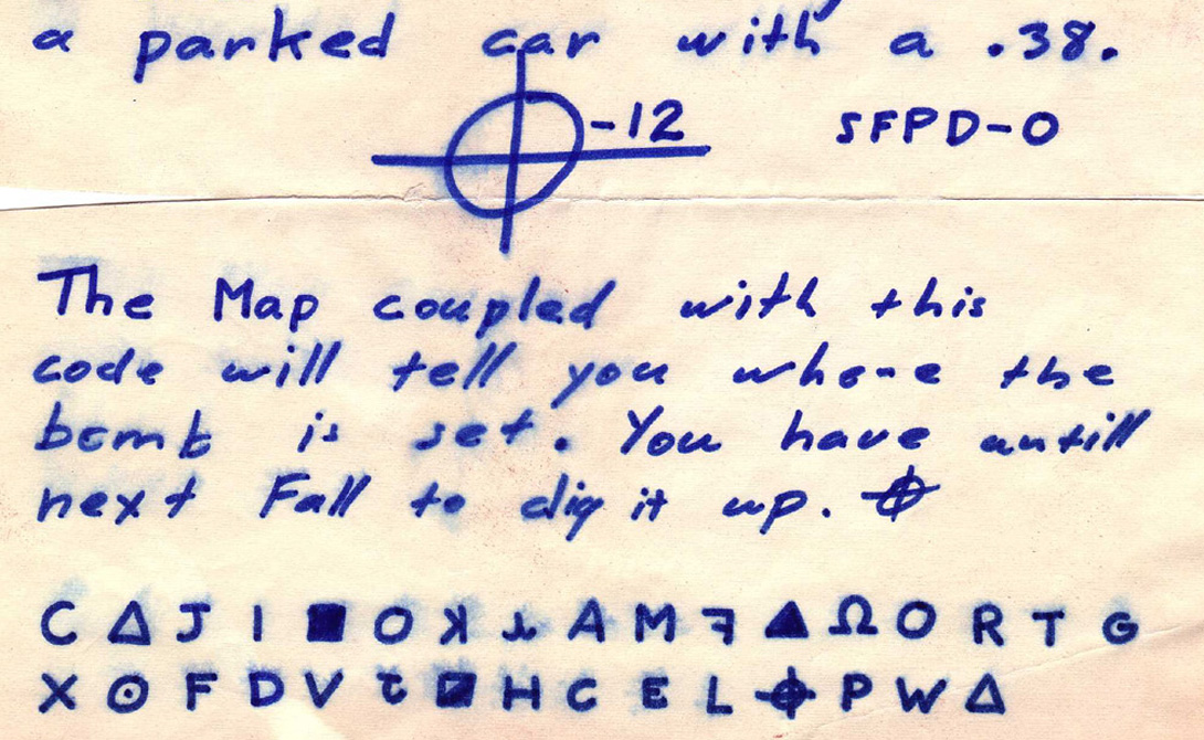 Зодиак И еще один маньяк, так и не найденный властями. Этот сумасшедший любил присылать в полицию зашифрованные письма — большая часть посланий не расшифрована до сих пор.