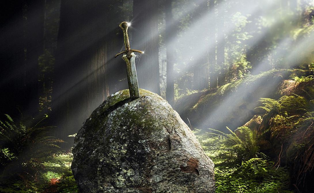 Эскалибур Англия Чуть ли не самый знаменитый клинок в истории. По легенде, этот меч был воткнут в валун, а вытащивший его становился королем Англии. Эскалибур ослеплял врагов, а ножны обладали целительной силой.