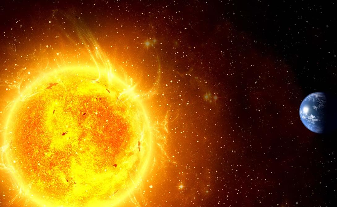 Солнце желтое Атмосфера Земли, которая находится между вашими глазами и Солнцем, искажает истинный цвет звезды — белый. Тому виной рэлеевское рассеяние, также раскрашивающее небо синим и заставляющее полыхать красным закаты и рассветы.