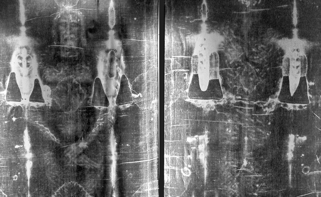 Туринская плащаница Кусок ткани с отпечатком (якобы) лица Иисуса Христа. Ученые, в принципе, допускают возможность того, что лицо мертвого человека и в самом деле могло бы отпечататься на хлопке — но вот о личности умершего никаких точных заявлений сделать не могут.