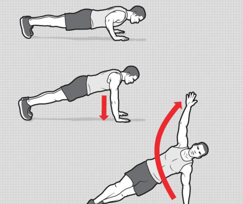 Т-образные отжимания Выполните обычное отжимание, в нижней точке поднимите правую руку вверх. Повернитесь на носках и опустите пятки на пол. Вернитесь в исходное положение и повторите, на этот раз поднимая левую руку. 10 повторений, 3 подхода.
