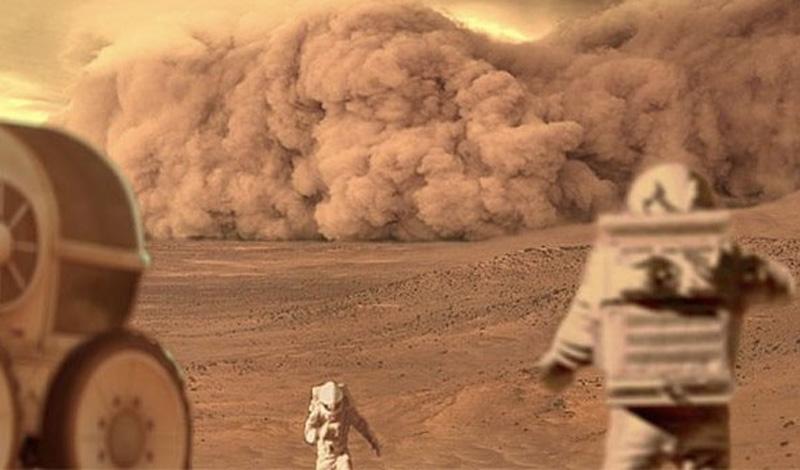 Марс властелинсамых больших пылевыхбурь в Солнечной системе. Они могут длиться в течение нескольких месяцев и охватывают всю планету.