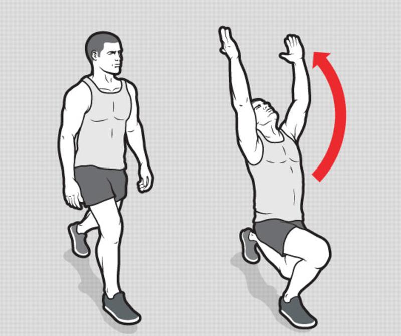 Выпады воина Движение основано на одной из асан йоги, позе Воина. Опускайтесь на левое колено, отведенное назад, колено правой ноги вынесено вперед. Одновременно поднимите обе руки и посмотрите вверх и назад. Теперь смените ноги и повторите, в подходе — 8 повторов, всего подходов 5.