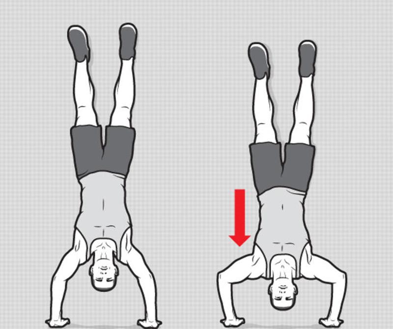 Отжимания вниз головой Непростое, но весьма действенное упражнение. Встаньте на руки, опираясь ногами о стену и отожмитесь. Сделайте семь повторов и три подхода.