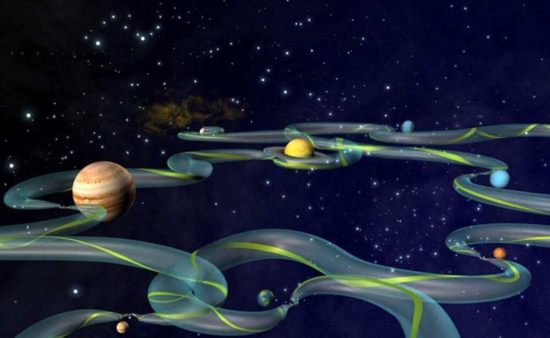 Межпланетная транспортная сеть Звучит, будто название книги писателя фантаста. Однако межпланетная транспортная сеть — чуть ли не самое удивительное явление в нашей Вселенной. Она представляет собой набор путей, основанных на конкурирующей тяжести небесных тел. Спутники и даже космические аппараты могут использовать транспортную сеть, чтобы перемещаться между объектами без использования энергии.