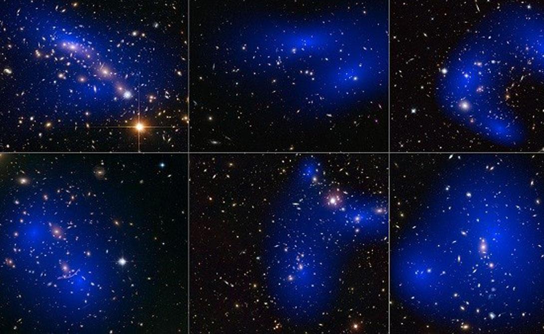 Темная материя Одна из самых странных вещей, с которыми приходится сталкиваться астрономам — темная материя. Это гипотетическое вещество, из которого (гипотетически) состоит 80% Вселенной. Ученые разбивают частицы в Большом адронном коллайдере, пытаясь понять, существует ли она на самом деле.