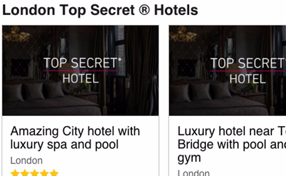 Секретная гостиница Так называемые секретные номера — жилые помещения, сдаваемые по сниженной цене отелями, которые не хотят упускать ни малейшую выгоду в высокий сезон. Сайт LastMinute.com позволит вам найти крышу над головой с существенной скидкой.