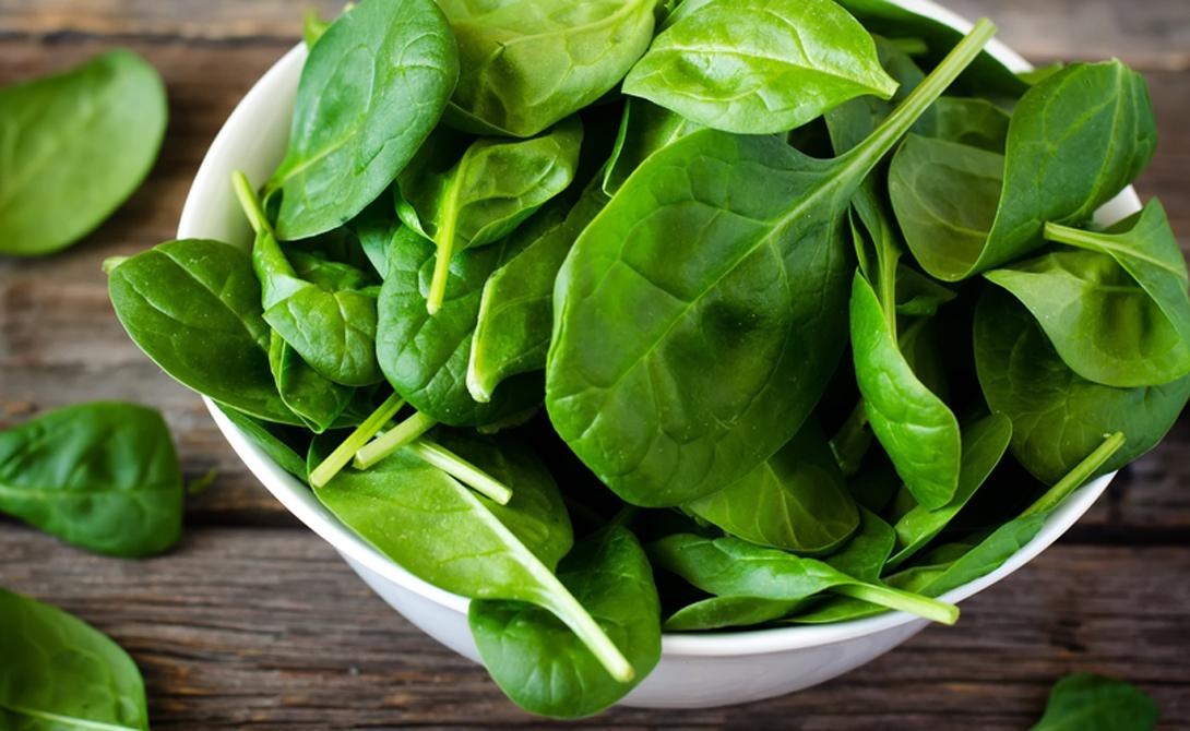 Шпинат Морячок Папай не зря любил шпинат. Помимо кальция (в ста граммах — 148 мг), шпинат содержит витамин С, марганец, витамин А и витамин К.
