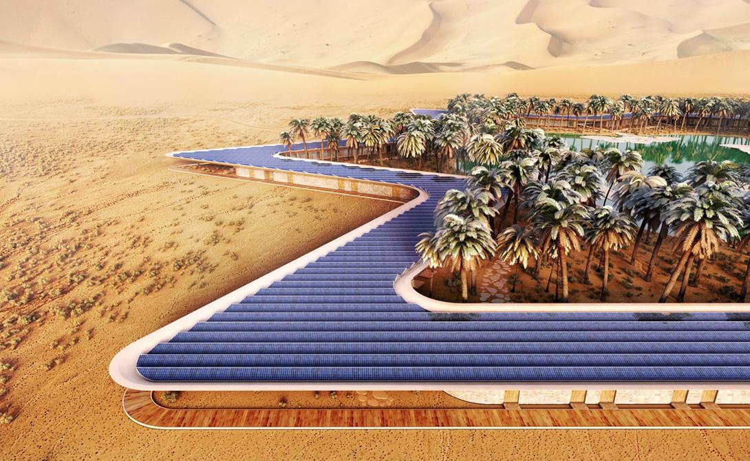 Плоская крыша полностью отдана под солнечные панели. Палящее солнце пустыни окажет неплохую услугу: все системы Oasis Eco Resort будут использовать только солнечную энергию.