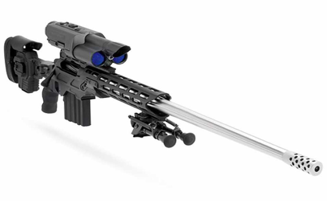 Bolt-Action .338 TP TrackingPoint является американской компанией, которая производит винтовки с высокоточной технологией, вычисляющей диапазон до цели и оптимизирующей физические настройки соответствующим образом. Этот Bolt-Action .338 TP стоит около $ 50 000.