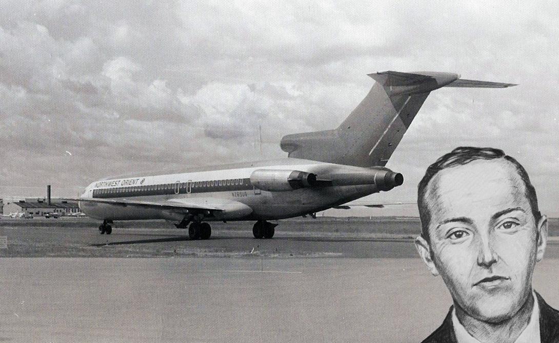 Легендарное ограбление Д.Б. Купера Прозвище D.B. Cooper получил неизвестный человек, умудрившийся угнать Боинг-727. Храбрый, очень спокойный и вежливый человек (так грабителя описал экипаж), дал очень конкретные инструкции о скорости движения воздуха, угле наклона крыльев и т.д., а затем выпрыгнул из самолета с мешками, полными денег. Свободааа!