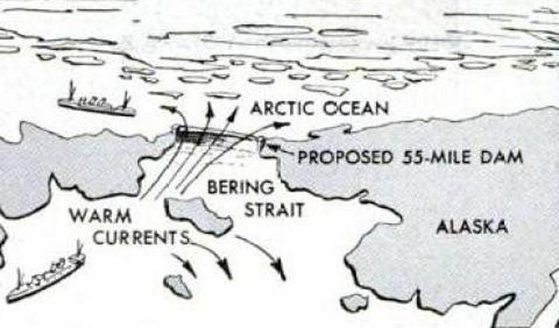 Океан вспять Большинство людей связывает период холодной войны и неуклонное наращивание ядерного вооружения. Но некоторые проекты были гораздо более амбициозны. К примеру, СССР вполне серьезно планировали растопить всю Арктику. По замыслу инженеров, гигантская плотина должна была преградить пространство от России до Аляски, перекрыв поток Тихого океана. Такая плотина могла бы перенаправить Гольфстрим в Атлантике, позволив теплой соленой воде растопить лед Арктики.