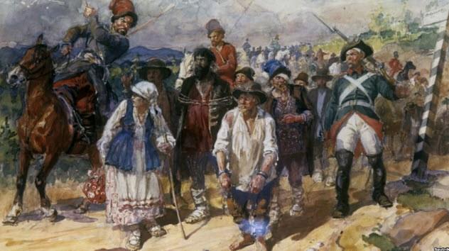 Крепостное право Российская империя была построена на спинах крепостных, связанных конкретным местом и вынужденных работать на контролирующего территорию помещика. К XVII веку землевладельцам было разрешено покупать и продавать крепостных, что переводило последних в разряд самых настоящих рабов. Технически, дворянам не было позволено убивать своих крестьян, но выбор наказания за проступок оставался на совести хозяина. Кончина холопа от травм при наказании не влекла никаких последствий. Крепостничество отменили только в 1861 году: этому моменту Россия имела население почти 63 млн — по меньшей мере, 46 млн были крепостными.