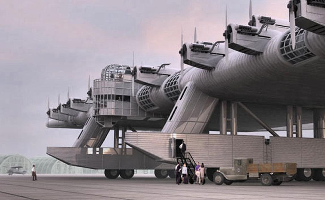 К-7Проект этого динозавра собственноручно разработал бывший военный летчик, Константин Калинин. Конструкция самолета была довольно неортодоксальна, с небольшой центральной частью фюзеляжа и гигантскими, толстыми крыльми. К-7 мог перевозить экипаж из 19 человек, наряду с 16 тоннами боеприпасов и 120 десантниками, размещенными в гигантских крыльях. Первый и единственный прототип совершил 7 испытательных полетов, последний из которых закончился ужасной аварией, стоившей жизни двум десяткам людей.
