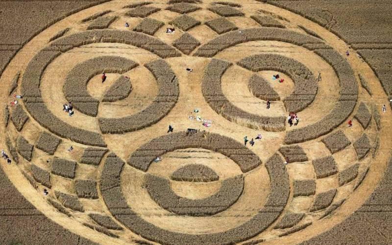 Странные круги на поле в Германии В местечке Райстинг на юге Германии круги были обнаружены на пшеничном поле воздухоплавателем, пересекавшим эту местность на воздушном шаре. Фермер Кристофер Хаттер отрицал свою причастность к таинственному явлению, произошедшему на его земле, но при этом отказывался верить, что это дело рук пришельцев, и во всем винил своих детей. Диаметр круга был около 76 метров. Помимо всего прочего, круг имел тщательно продуманный дизайн, который не мог быть разработан соседскими детишками.