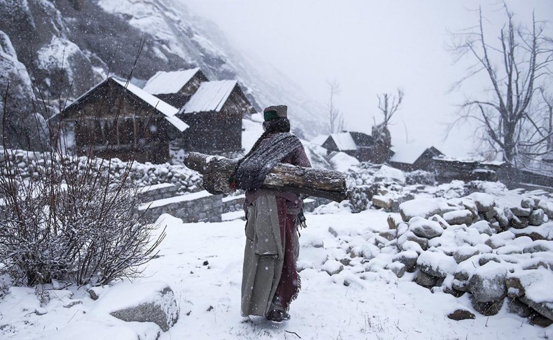 Remote life at -21 degree Автор: Маттиа Пассарини Женщина возвращается в свой дом, собрав дрова для отопления.