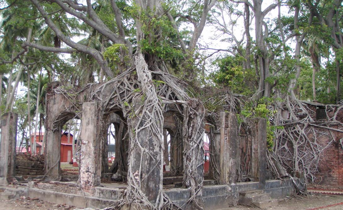 Остров Росса Поселение было основано еще в 18-ом веке британскими колонизаторами. В ту пору Британия считалась королевой морей и могла дотянуться даже до Андаманского архипелага. Но утекло много воды и теперь островок представляет собой печальный памятник человеческой самоуверенности.