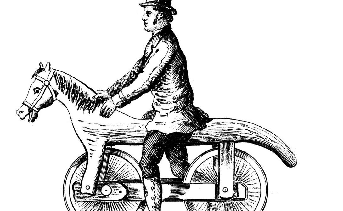Протовелосипед Название «велосипед» появилось во Франции в 1860-х годах. А до того некий барон Карл фон Дрэ запатентовал вот это устройство, которое стало весьма популярным: целый год, с 1819 по 1820, состоятельные парижане и в самом деле выходили на улицу в компании протовелосипеда.