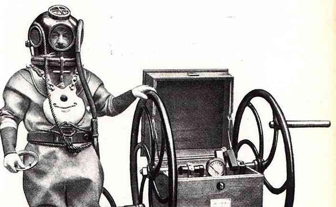 Вентиляция и шлем Уже в начале 1700-х годов ученые придумали уменьшить колокол до миниатюрного шлема. Воздух в него подавался с поверхности по гибкому шлангу. Англичанин Эдмунд Галлей разрабатывает вентилируемое снаряжение, благодаря которому человек мог находиться под водой достаточно долгий промежуток времени.