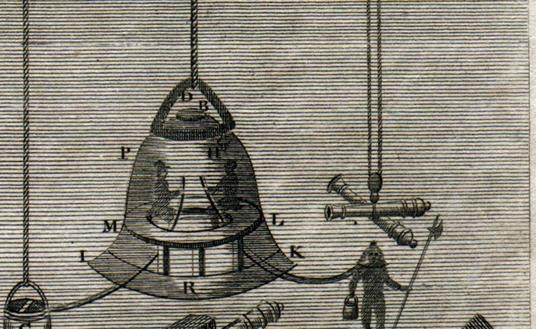 Водолазный колокол На самом деле, пользоваться примитивным снаряжением для погружения на глубину умели еще наши далекие предки. К средним векам ученые Европы разработали техническое подспорье ныряльщикам, так называемый водолазный колокол. По законам физики под перевернутой, опускаемой в воду чашей оставался воздух, позволяющий человеку дышать.