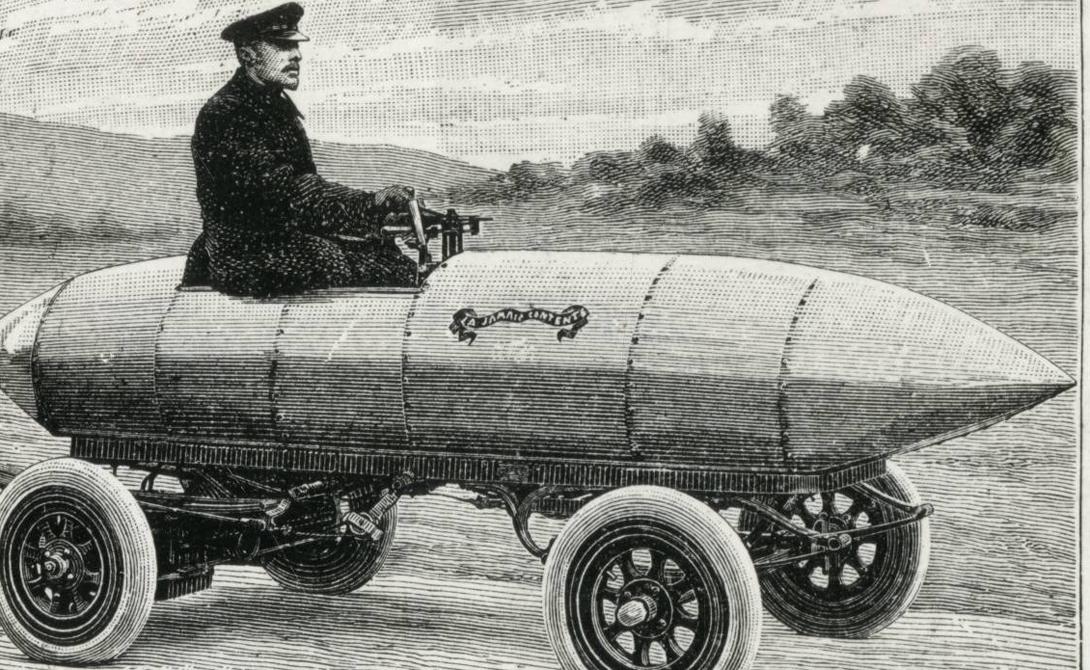 Ракетный автомобиль Бельгийский автогонщик Камилл Дженатци построил этот невероятный автомобиль в 1899 году. Он назвал свое изобретение La Jamais Contente и стал первым, кто преодолел скоростной рубеж в 100 км/ч.