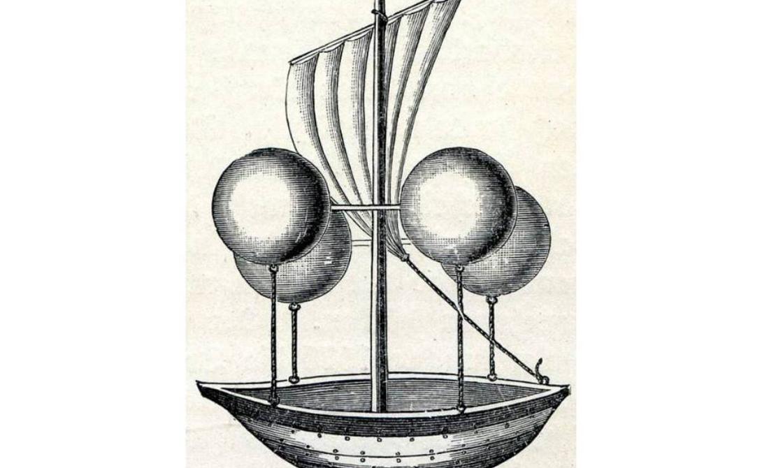 Вакуумный дирижабль Эту странную парящую лодку придумал в 1670 году священник по имени Франческо Лана де Терзи. По его задумке, скорость невиданному самолету должны были придавать обыкновенные весла.