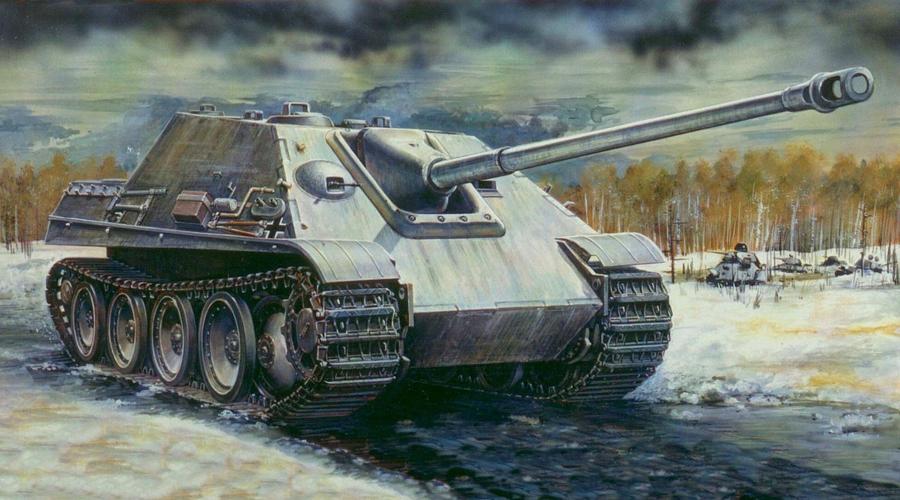 Jagdpanther Германия Один из самых мощных «истребителей танков» во Второй мировой войне. Тяжелая машина с 88-мм пушкой и лобовой броней толщиной в 100 мм быстро показала свое техническое превосходство, но большого влияния на исход войны уже оказать не могла. Боевое крещение «Ягдтпантеры» получили во Франции — три немецкие машины за полторы минуты уничтожили одиннадцать британских «Черчиллей», что привело союзников в ужас.