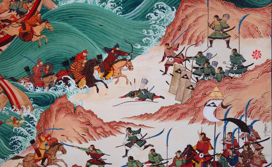 Божественный ветер То, что японцы называют камикадзе, божественный ветер, дважды спасало страну от захвата потомками Чингисхана. Флоты вторжения были уничтожены штормами в 1274 и 1281 годах — а ведь захвати монголы Японию, не было бы ни португальского, ни испанского контакта с этой страной.