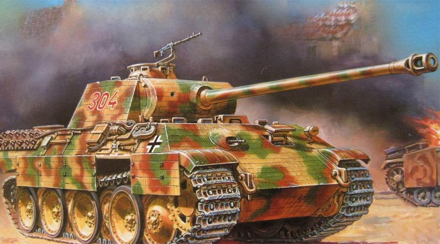 MK V Panther Германия Средний немецкий танк, появившийся на поле боя в начале 1943 года. «Пантера» оставалась на службе вплоть до конца войны, в общей сложности Германия выпустила 6334 танка. Машина развивала приличную скорость в 55 км/ч, имела броню толщиной в 20 мм и пушку калибра 75 мм. Это сочетание качеств позволяло MK V держать в страхе войска союзников, однако советскому «Т-34» такая связка оказаласьне по зубам.
