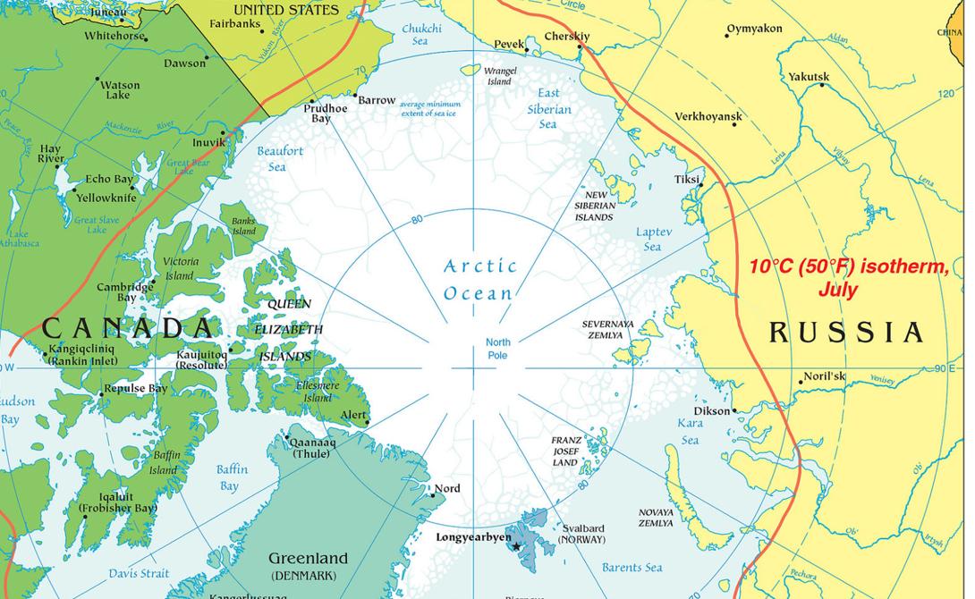 Зоны влияния на Арктический регион, 2000 год