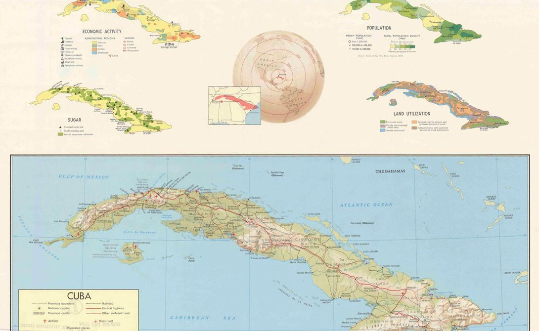 Подробная карта Кубы, 1977 год