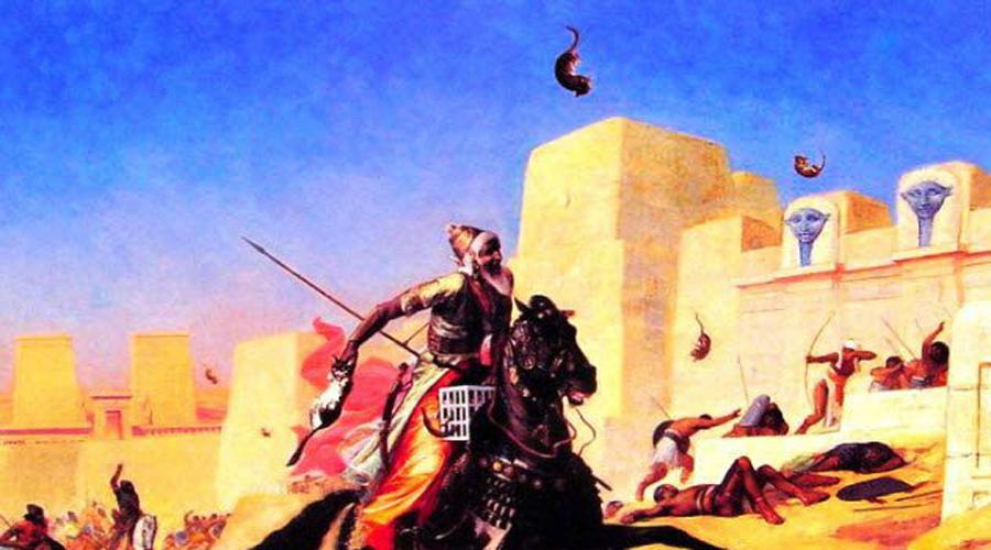 Священные животные Персия В 525 г. до н.э. произошло сражение при Пелусии, после которого Египет пал под давлением персидских завоевателей. Геродот писал, что хитрые персы рисовали на щитах кошек, священных для египтян животных. К городу были согнаны и другие тотемные звери, отдельные воины даже забрасывали несчастных котов прямо на стены. Все это оказывало сильное психологическое давление на египтян, скованных религиозными страхами.