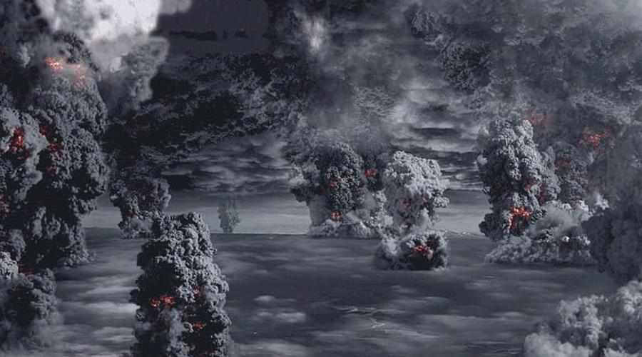 Извержение Тоба 73 тысячи лет назад еще одно извержение вулкана едва не погубило всю нашу цивилизацию. В результате мощнейшего извержения в атмосферу было выброшено примерно 800 кубических километров пепла, а на месте вулкана образовался кратер длиной 100 километров и шириной 35 километров. Осадочные породы, сформированные этим пеплом, были найдены на территории Индии, на дне Индийского океана: в Бенгальском заливе и Южно-китайском море. Извержение вызвало так называемый «мгновенный ледниковый период» — резкое похолодание из-за отражения солнечных лучей от поверхности суши, покрытой пылью, а также поглощения солнечной радиации аэрозольными частицами соединений серы, оказавшимися в верхних слоях атмосферы. Это похолодание продолжалось почти 1,8 тысячи лет.