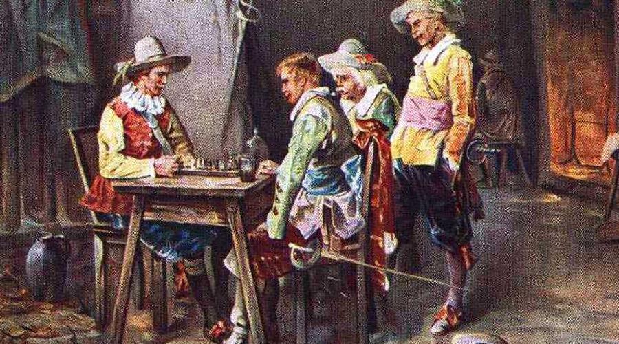Капитан д'Артаньян Преданный королю д'Артаньян (Шарль де Бац де Кастельмор, граф д'Артаньян) получил возможность восстановить мушкетерскую роту в 1665 году. Он увеличил численность солдат до 330 человек и превратил отряд в самостоятельное подразделение со своим казначеем, хирургом, оружейником и даже священником. Кроме того, у роты появились свои знамя и штандарт. На них были изображены вылетающая из мортиры бомба и девиз Quo ruit et lethum («Где упадет, там смерть»).