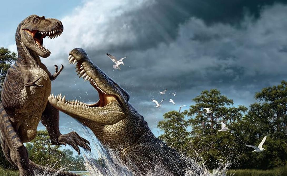 Дейнозух А вот и крокодилий прадедушка, великий дейнозух. В нашем списке он не самый большой, но определенно самый опасный. Почему? Да потому, что главным средством пропитания дейнозухов были тираннозавры!