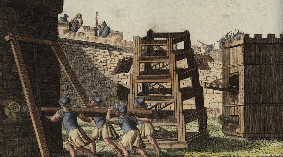 Осадные орудия В отличие от большинства варварских племен, гунны были особенно искусны в осадной войне. Они получили представление об осадной техники на службе в римских войсках, куда их с удовольствием брали легкими конниками и разведчиками. По словам греческого летописца Приска, первое появление осадных орудий при осаде Ниша стало для римлян шоком: гунны использовали массивные колесные осадные башни, чтобы подвести защищенных лучников близко к стенам и дождем стрел просто смыть войска города.