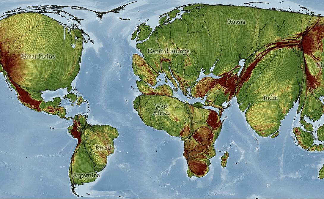 Связи Эта карта мира была изменена в соотвествии с уровнем населения стран. Доминация Китая (1,382 млрд) и Индии (1,326 млрд) в этом ракурсе очевидна, а вот пустыни и полярные области почти не видны. Здесь же показаны коммуникативные линии всего мира. Цветные линии — воздушные коридоры, дороги, морские пути, трубопроводы, линии электропередачи и подводных кабелей — то есть все маршруты, по которым осуществляется большая часть торговли движущей мировой экономикой.