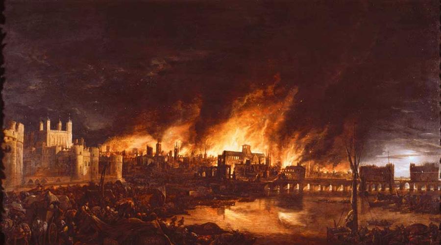 Великий лондонский пожар Справедливой крови будут жаждать вЛондоне,Сожжённые вогне 66-ти,Старая леди упадёт сеё высокого места,Имногие братья повере будут убиты Небольшая пекарня Томаса Фарринера вспыхнула в доли секунды и пламя быстро распространилось на весь город. Лондон горел три дня, без крова остались десятки тысяч людей. Однако, были в этом пожаре и положительные моменты: погибли миллионы крыс, распространявших чуму. Они выведены в катрене Нострадамуса как «Кровь верных».