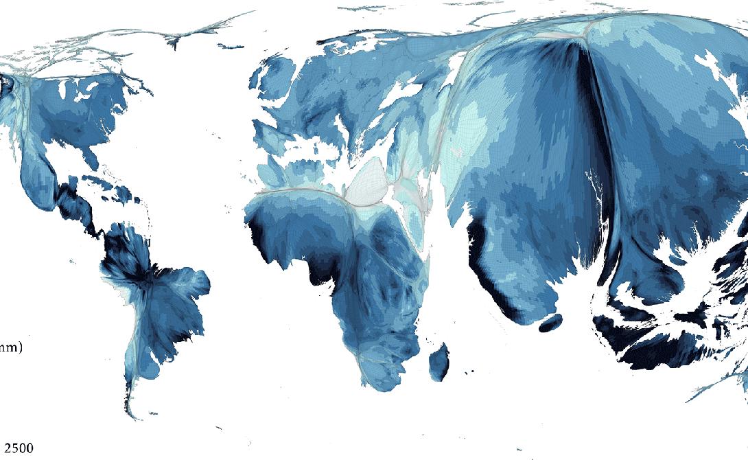 Наш водный мир Некоторые вещи имеют значение большее, чем деньги. По всему миру вода — с точки зрения доступности и качества — ресурс, который определяет способность людей к развитию. Ресурс распределен очень неравномерно, что хорошо заметно по этой картограмме. Она представляет собой населенный людьми мир (область на карте пропорциональна численности населения), на который были наложены уровни годового количества осадков. Изучая взаимосвязь между этими двумя переменными (плотностью населения и уровнем осадков), можно определить, где проблема водоснабжения потенциально серьезна. Сейчас в зоне риска Египет, Палестина и Пакистан.