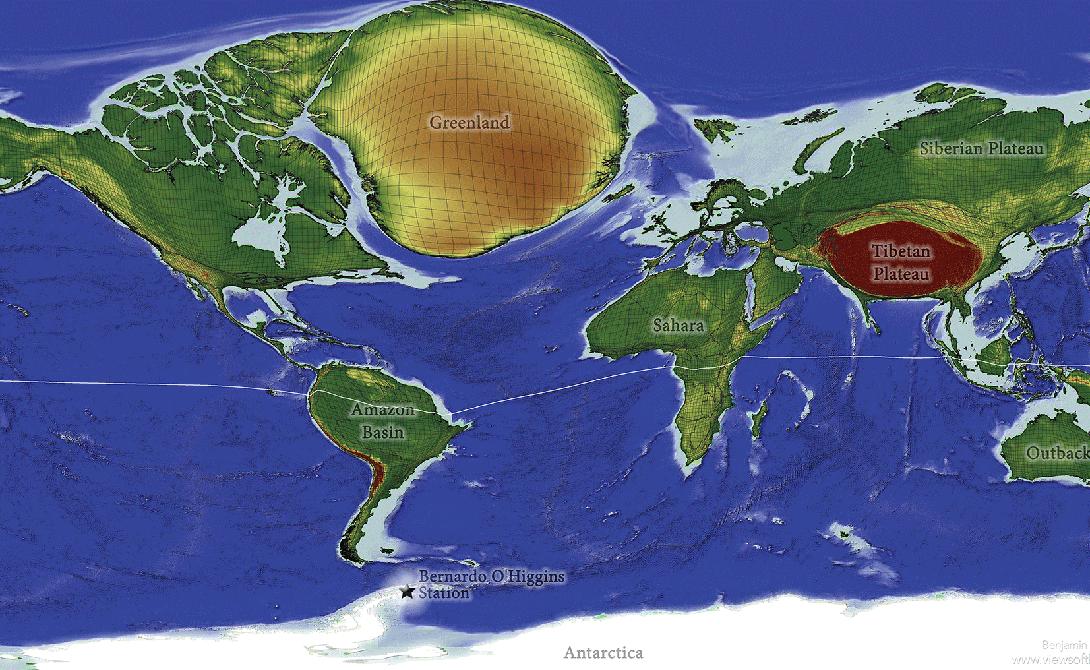 Карта интроверта Возрастающая плотность населения беспокоит нас все больше. Увеличенные области на этой карте демонстрируют территории, идеально подходящие интровертам — тут народа меньше всего. Хотите побыть отшельником? Гренландия и Антарктида идеальный вариант. Притом с каждым годом здесь будет становиться все безлюднее: люди постепенно перебираются в мегаполисы.