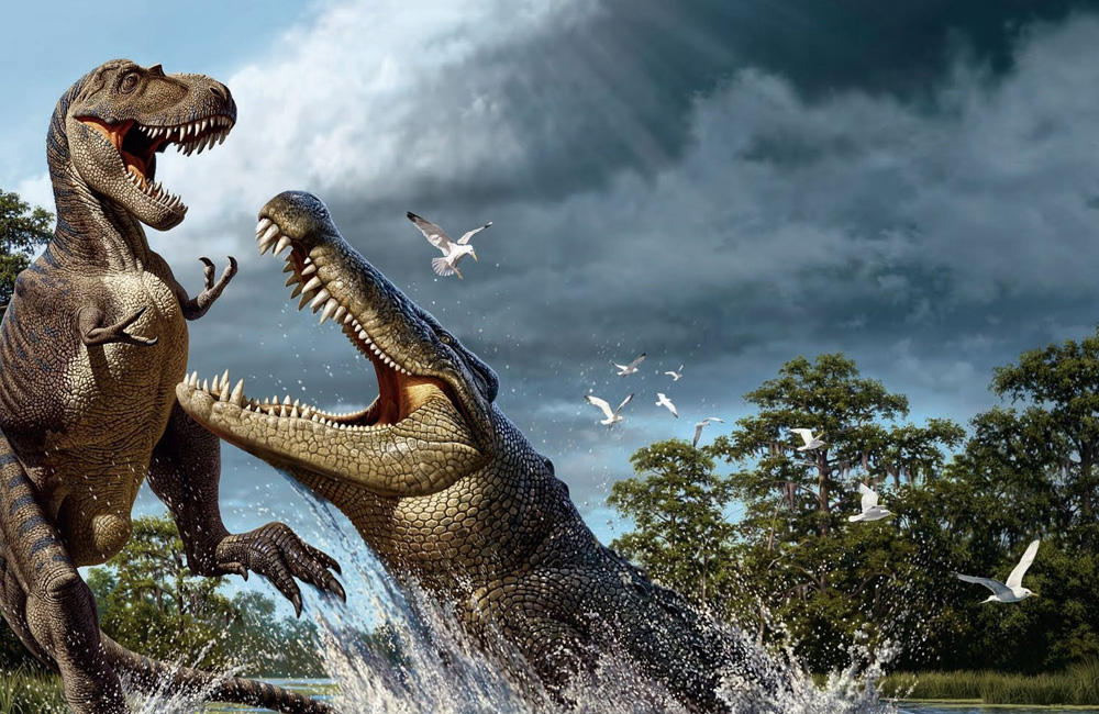 Саркозух Этот величественный гигант — далекий, очень далекий предок современного крокодила. Двенадцатиметровый убийца к совершеннолетию набирал массу более шести тонн: у саркозуха даже не было естественных врагов в природе.