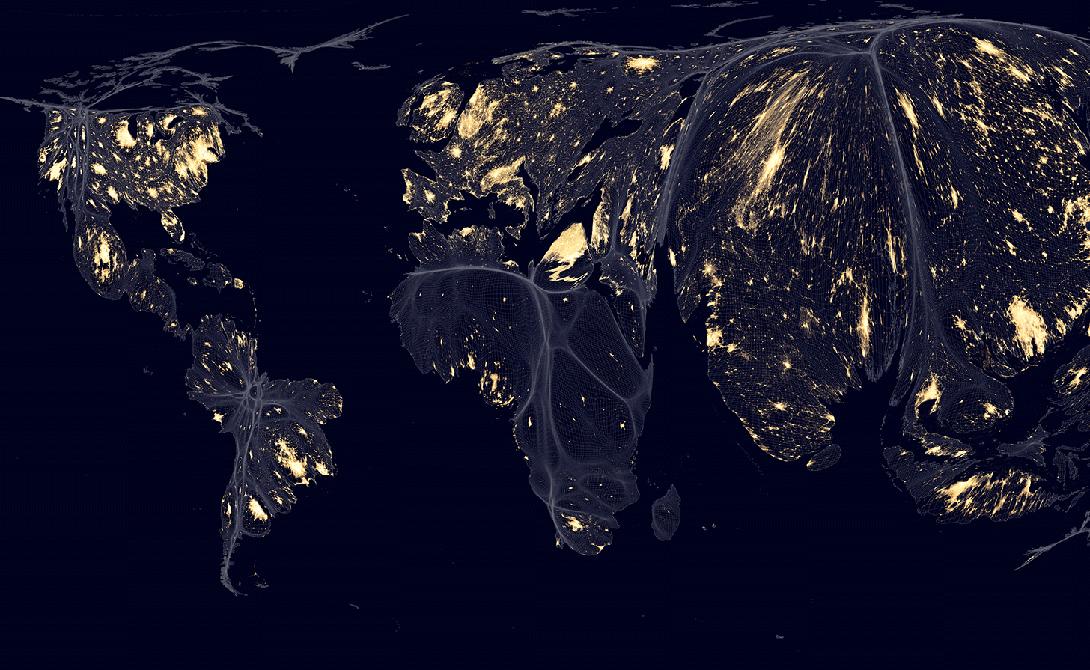 Ночная жизнь Снимки со спутников показывают, как выглядит Земля ночью. Растянутые области отображают высокую активность людей ночью, пустынные области сжаты. Огни на карте — в Лондоне, Каире или на восточном побережье США — показывают места, где люди наиболее расточительно используют энергию.