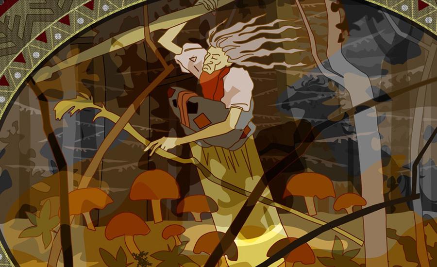 Баба-яга Это один из наиболее сложных и необычных персонажей славянской мифологии. В нашем фольклоре Баба-яга обладает несколькими определенными и неизменными атрибутами: она летает на ступе, живет на границе леса в избушке на курьих ножках и у нее костяная нога. Согласно Владимиру Проппу, жилище чудовища — портал в мир мертвых, а сама Баба-яга хранительница его.