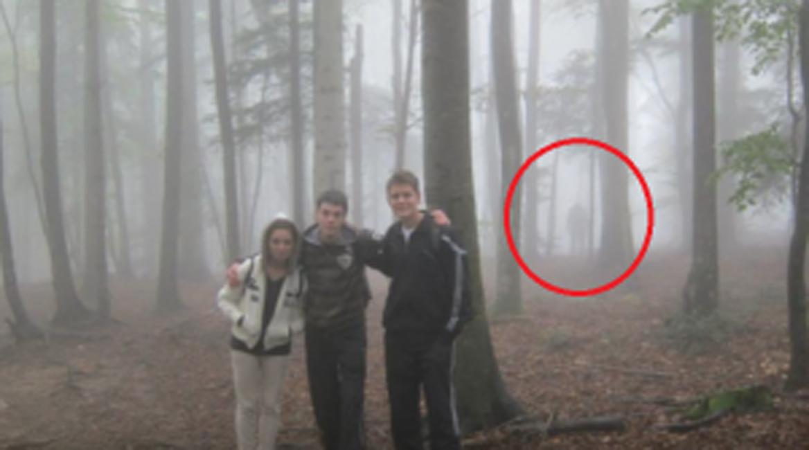 Йети Группа друзей сделала этот снимок во время похода по лесам Йосемити. При распечатке на фото оказалась некая странная человекоподобная фигура — а туристы в один голос утверждали, что не видели ничего подобного.
