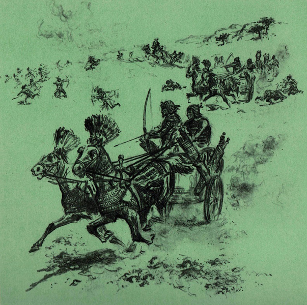 Снаряжение Древнего Царства Простой воин вооружался луком и стрелами. Для рукопашного боя применялись булавы, и медные боевые топоры, те, кто победнее не гнушались использовать каменные кинжалы и копья с каменными же наконечниками. В ту пору Египет имел лишь один род сухопутных войск, пехоту. Однако, уже тогда это были не просто разрозненные отряды — командующие умели строить солдат шеренгами, а при штурме крепостей умело применяли штурмовые лестницы.